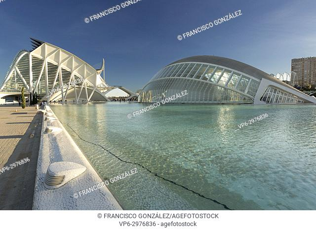 Valencia, Spain. October 25, 2017: L'Hemisfèric was the first building open to the public of the City of Arts and Sciences of Valencia on April 10, 1998