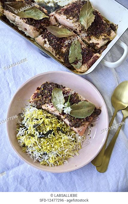 Valak polo ba mahi (Persian wild garlic rice with marinated salmon)