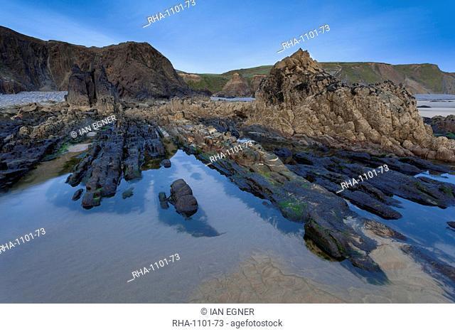 Rocky pool on Sandymouth Bay beach, Cornwall, England, United Kingdom, Europe