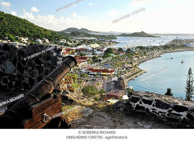 France, French West Indies, Saint Martin island, Marigot, view from Fort Saint Louis