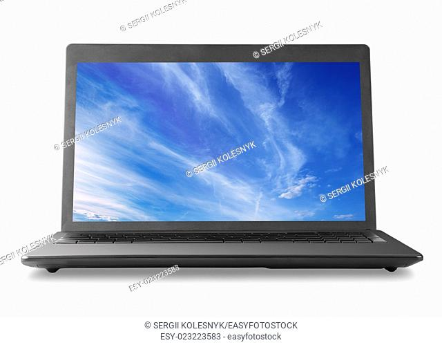 Laptop and sky isolated on white background