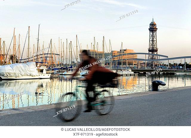 Barcelona: harbour of barcelona, in background Torre de Jaume I
