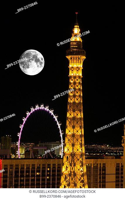 Paris Paris Hotel Casino Linq Ferris Wheel The Strip Las Vegas Skyline Nevada Usa