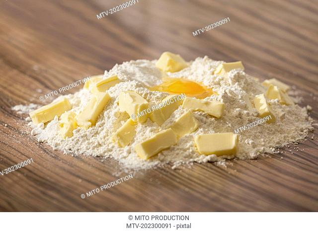 Ingredients for dough, egg, butter, flour and sugar, Munich, Bavaria, Germany