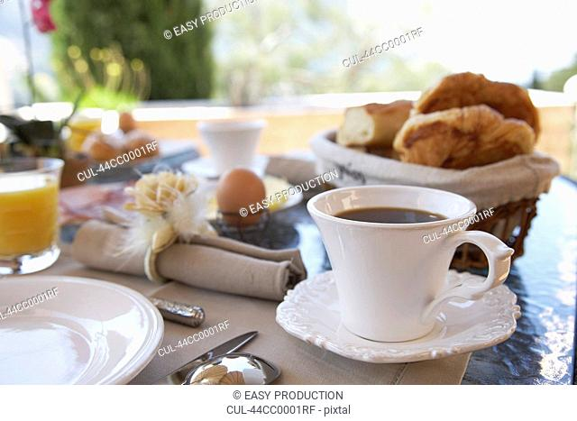 Close up of coffee at breakfast table