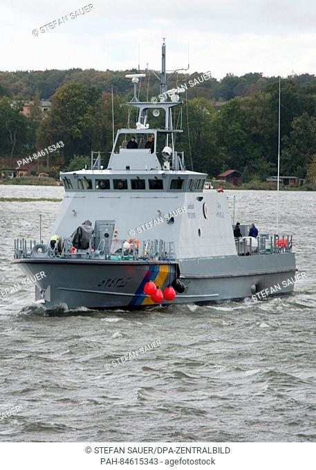 A coastal defence boat built for Saudi Arabia returning to the Peene shipyard of the Luerssen Group in Wolgast, Germany, 05 October 2016