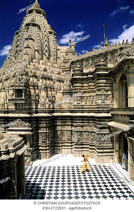 Shri Adishwara Jain Temple on the sacred hill of Palitana, Bhavnagar district, State of Gujarat, South India