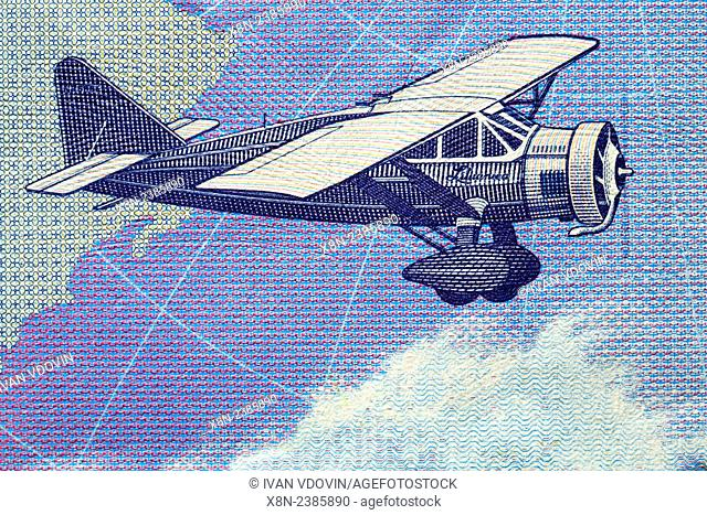 "Vintage aircraft, monoplane """"Lithuanica"""" from 10 litu banknote, Lithuania, 2001"