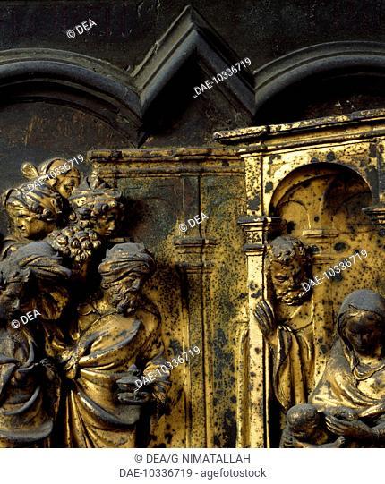 Adoration of the Magi, bronze panel by Lorenzo Ghiberti (1378-1455). North Door, Baptistery of San Giovanni Battista, Florence. Italy, 15th century