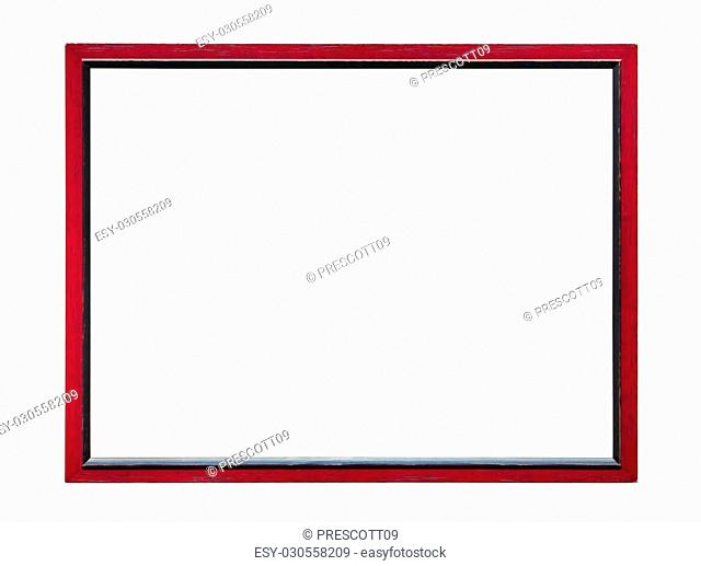 Red wooden picture photo frame isolated on white background