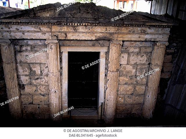 Romaios Tomb, archaeological site of Aigai, Vergina (UNESCO World Heritage List, 1996), Macedonia, Greece. Macedonian civilisation, 4th century BC