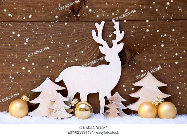Christmas Card With Golden Festive Decoration On Snow. White Reindeer, Christmas Ball, Christmas Tree And Snowflakes. Brown, Rustic, Vintage Wooden Background
