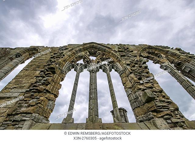 UK, England, Yorkshire - the stone remains of Whitby Abbey located in England