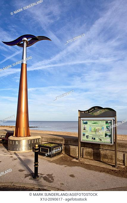 Trans Pennine Trail Marker on Hornsea Seafront East Riding of Yorkshire England