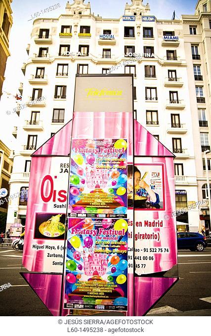 Telefonica cabine, Callao, Madrid, Spain
