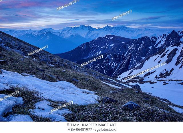 Austria, Tyrol, the Stubai Alps, Neustift, view at the Tribulaune in the Stubai Alps in the ascent to the Serles in the early morning