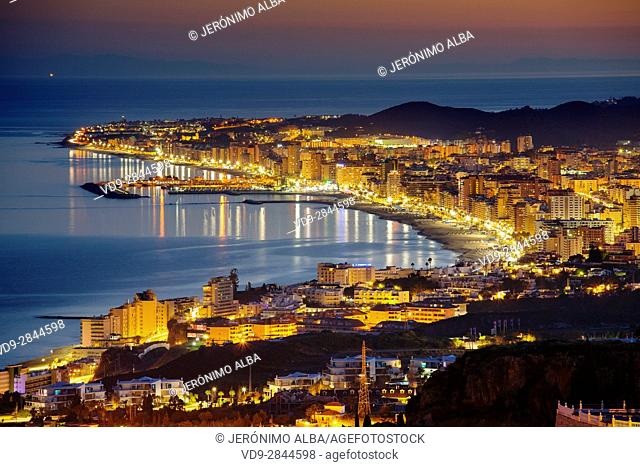 Panoramic landscape at dusk, Fuengirola, Mediterranean Sea. Malaga province Costa del Sol. Andalusia Southern Spain, Europe