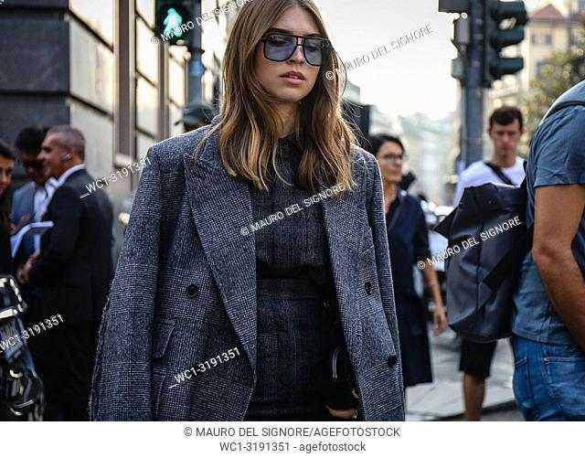MILAN, Italy- September 20 2018: Women on the street during the Milan Fashion Week