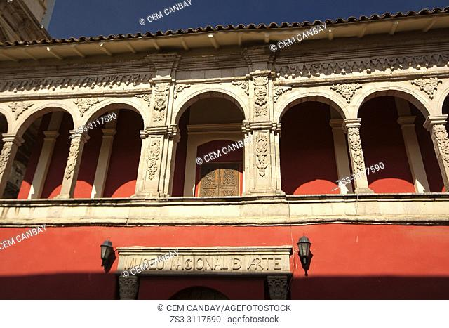 View to the arches at the facade of the National Art Museum-Museo Nacional De Arte at the historic center, La Paz, Bolivia, South America