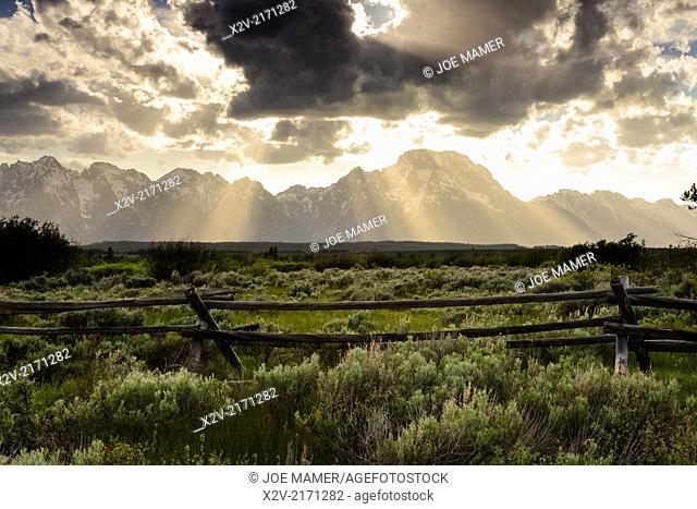 Teton Range and clearing storm