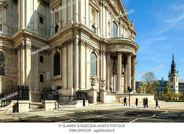The facade of St Paul's cathedral, City of London, England