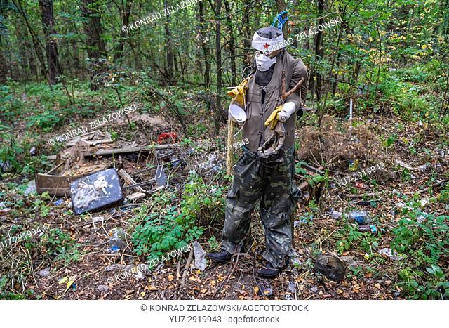 Dummy in Chernobyl-2 military base, Chernobyl Nuclear Power Plant Zone of Alienation area around the nuclear reactor disaster in Ukraine