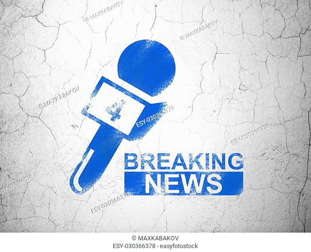 News concept: Blue Breaking News And Microphone on textured concrete wall background