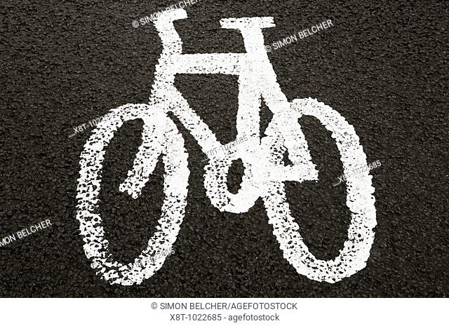 Cycle Lane Symbol Painted on Tarmac
