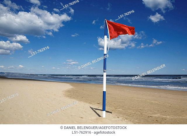 red flag on Gandia beach, Gandia, Valencia, Comunidad Valenciana, Spain, Europe