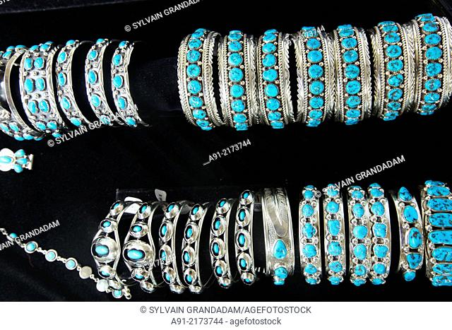 USA, Arizona, Navajo reservation, Window Rock the capital during the annual september fair, turquoise navajo jewelry for sale