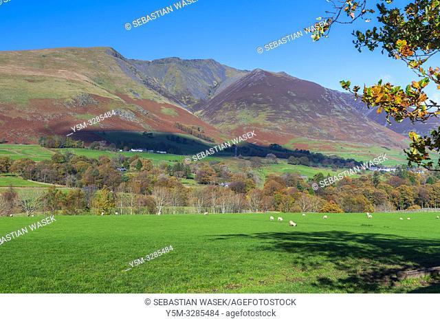 Cumbrian landscape near Castlerigg Stone Circle, Lake District National Park, Keswick, Cumbria, England, UK, Europe