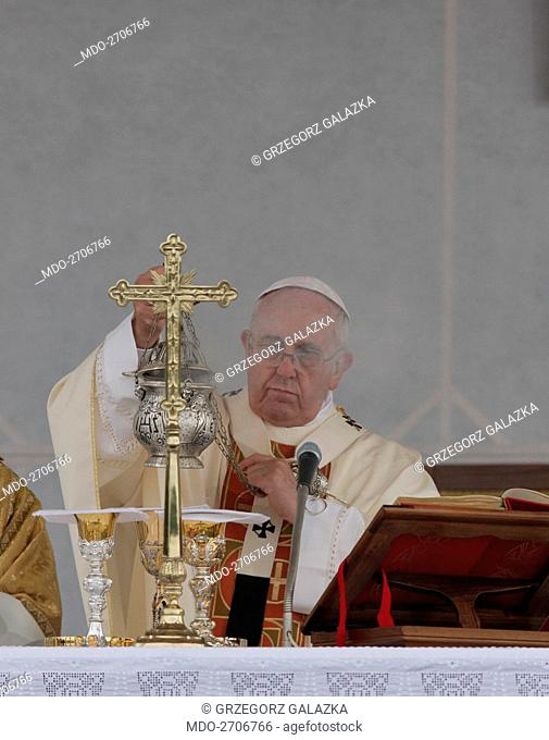 Pope Francis (Jorge Mario Bergoglio) celebrating the Holy Mass while visiting the Military Sacrarium for the 100th anniversary of World War I beginning