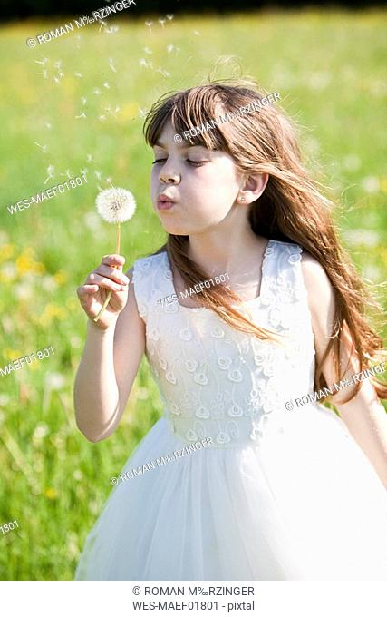 Germany, Bavaria, Girl 8-9 blowing dandelion, close-up
