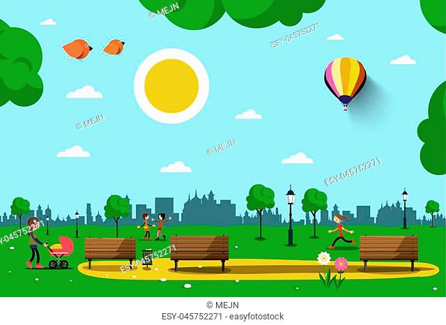 Park with Benches, People and City Skyline Silhouette. Sunny Day in City. Nature Vector Illustration