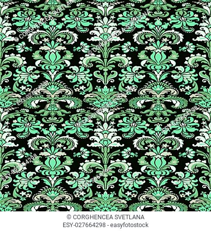 Wrapping wallpaper floral seamless tile for website vector, repeating foliage outline floral western damask flower organic