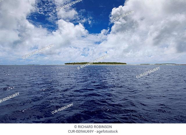 View of sea and Palmerston Atoll, Cook Islands
