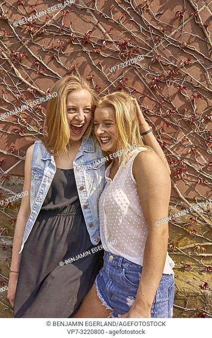 two women, friends, happy, in Munich, Germany