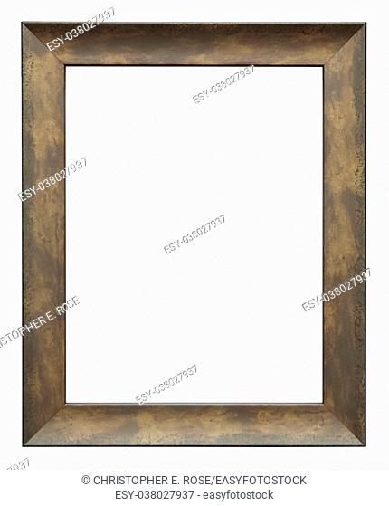 Empty picture frame isolated on white, portrait format, in a bronze effect painted finish