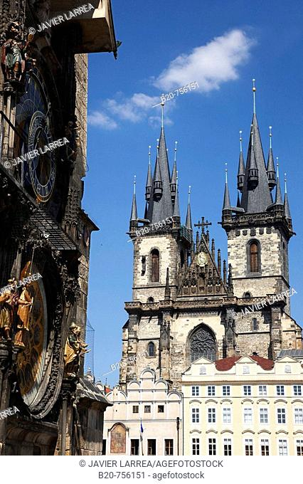 Astronomical clock on the Old Town City Hall and Tyn church, Staromestske Namesti (Old Town Square), Prague, Czech Republic