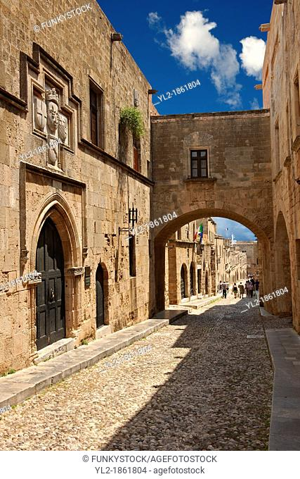 The Medieval buildings of the Avenue of the Knights where there were 7 dfferent lodges for Knights speaking different languages  Rhodes, Greece