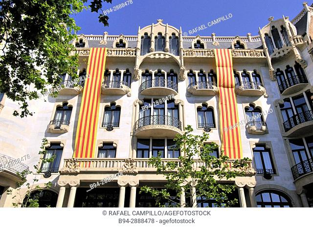Casa Fuster ( Now Hotel) with Senyera Catalan flag. Designed by Lluís Domènech i Montaner architect between 1908 and 1910