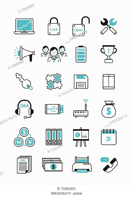Various line icons related to business