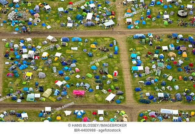 Aerial view of campers and tents at Ruhrpott Rodeo, Punk Festival, Music Festival at Schwarze Heide Bottrop Airport, Bottrop, Ruhr, North Rhine-Westphalia