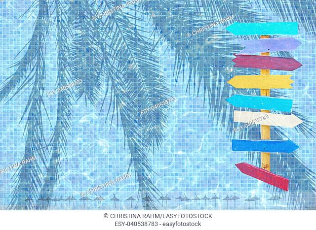 Summer resort pool theme background. Turquoise blue pool mosaic water surface and beach parasols eight colourful arrows background