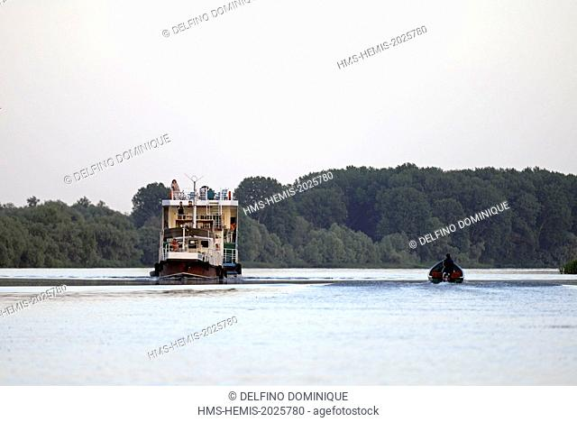 Romania, Danube Delta listed as World Heritage by UNESCO, boat tourist hotel and boat sailing on the river