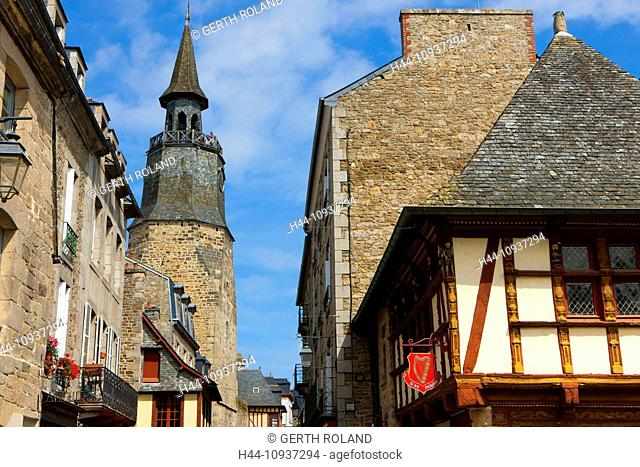 Dinan, France, Europe, Brittany, department, Côte d'Armor, town, city, Old Town, medieval, houses, homes