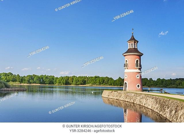 The lighthouse in Moritzburg is the only inland lighthouse in Saxony. It was built in the late 18th century as part of a backdrop for trailing naval battles