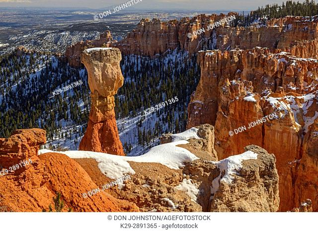Hoodoos and snow at Agua Canyon- The Hunter, Bryce Canyon National Park, Utah, USA