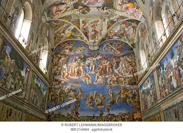 The Last Judgment is a painting by Michelangelo located in the Sistine Chapel (Vatican City), Vatican, Rome , Lazio , Italy , Europe
