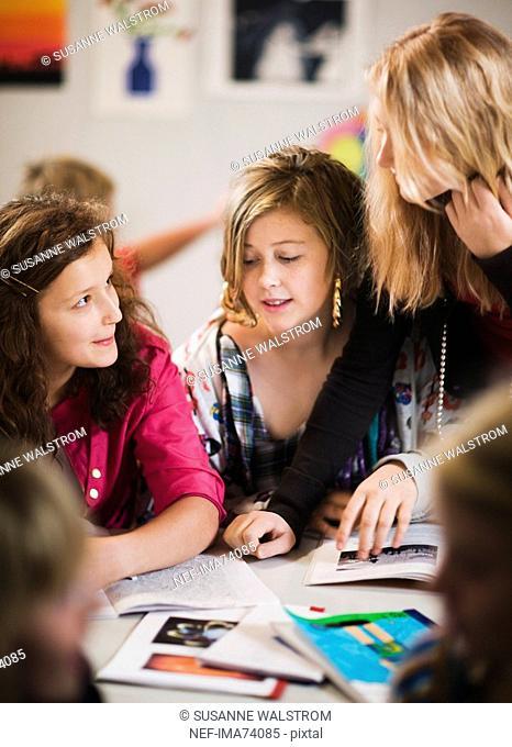 Schoolchildren having a discussion, Sweden